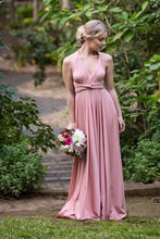 Load image into Gallery viewer, On Sale Antique Rose Dusty Pink Wedding Bridesmaid Formal Convertible Wrap Multi-way Maxi Dress Lucy and Loo Style and Scents