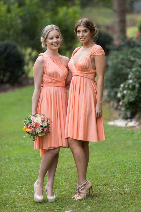 Apricot Wedding Bridesmaid Cocktail Convertible Wrap Multi-way Dress Lucy and Loo Style and Scents