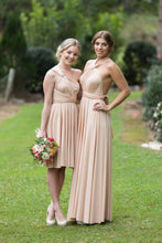 Load image into Gallery viewer, Champagne Nude On Sale Wedding Bridesmaid Cocktail Convertible Wrap Multi-way Dress Lucy and Loo Style and Scents