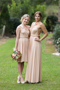 Champagne Nude On Sale Wedding Bridesmaid Cocktail Convertible Wrap Multi-way Dress Lucy and Loo Style and Scents