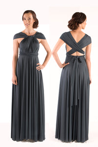 Charcoal Grey Wedding Bridesmaid Formal Convertible Wrap Multi-way Ballgown Dress Lucy and Loo Style and Scents On Sale