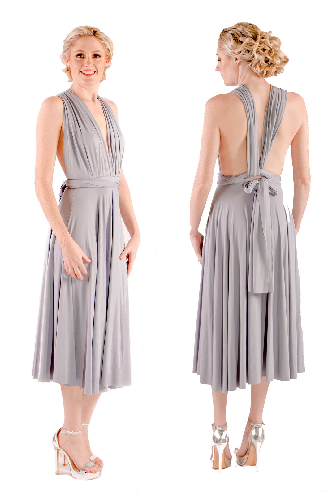 On Sale French Grey Wedding Bridesmaid Formal Convertible Wrap Multi-way Mid-length Tea-Length Dress Lucy and Loo Style and Scents