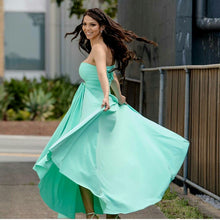 Load image into Gallery viewer, Tiffany Green Wedding Bridesmaid Formal Convertible Wrap Multi-way Ballgown Dress Lucy and Loo Style and Scents On Sale