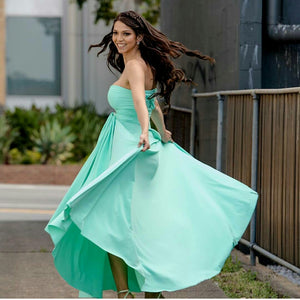 Tiffany Green Wedding Bridesmaid Formal Convertible Wrap Multi-way Ballgown Dress Lucy and Loo Style and Scents On Sale