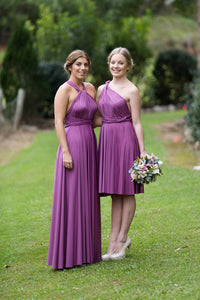 Iris Dark Purple On Sale Wedding Bridesmaid Cocktail Convertible Wrap Multi-way Dress Lucy and Loo Style and Scents