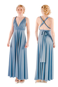On Sale Storm Grey Wedding Bridesmaid Formal Convertible Wrap Multi-way Maxi Dress Lucy and Loo Style and Scents