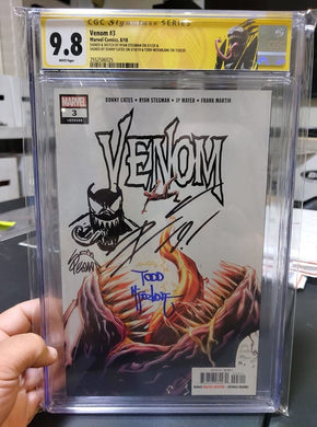 VENOM #3 9.8 TRIPLE SIGNED W/ REMARK