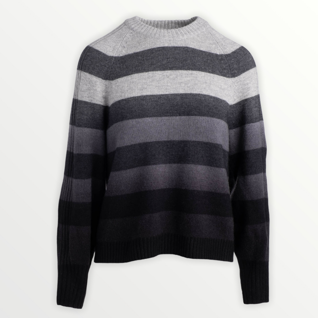 NAADAM Dip Dye Striped Crewneck Sweater