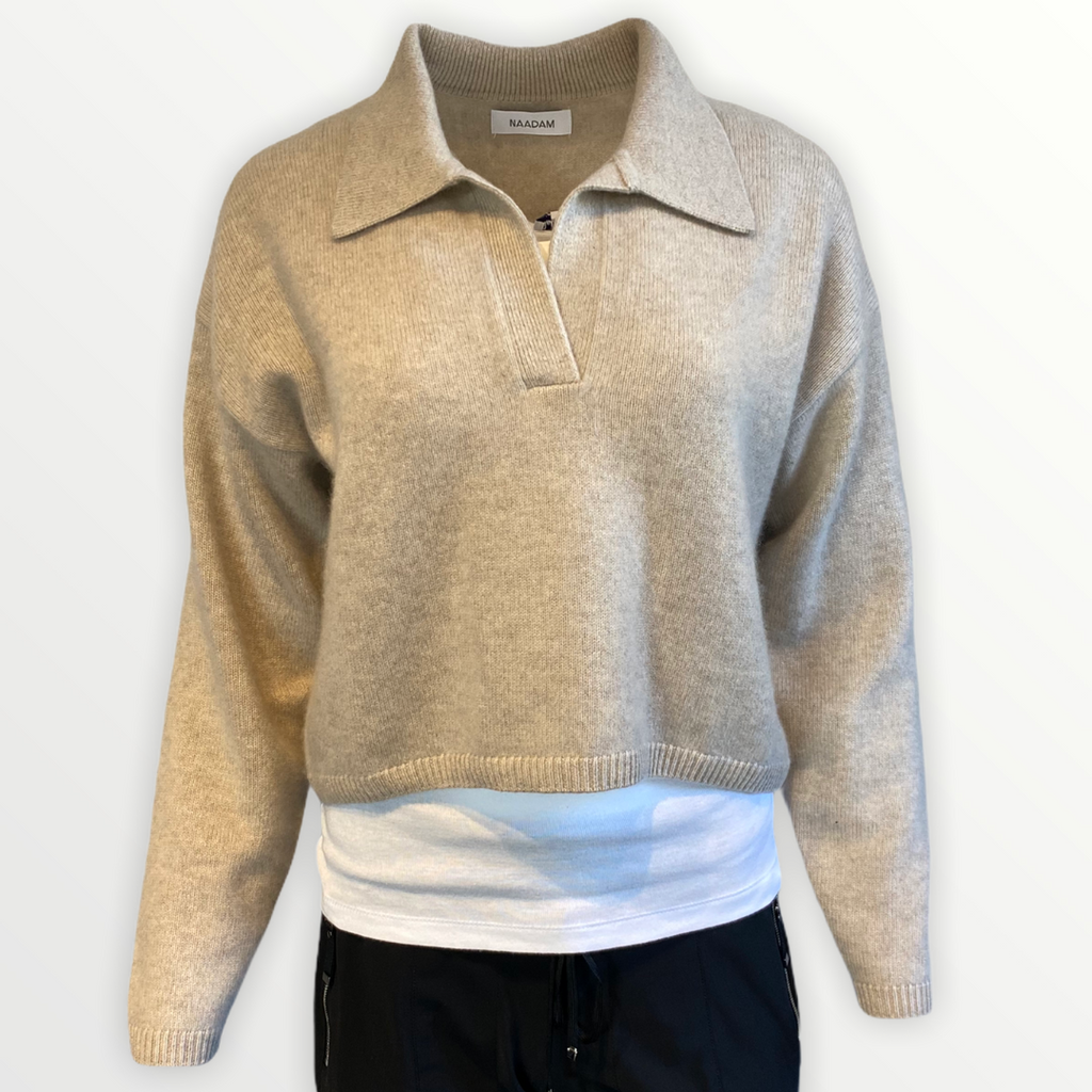 NAADAM V-Neck Polo Sweater - StudioRA Boutique