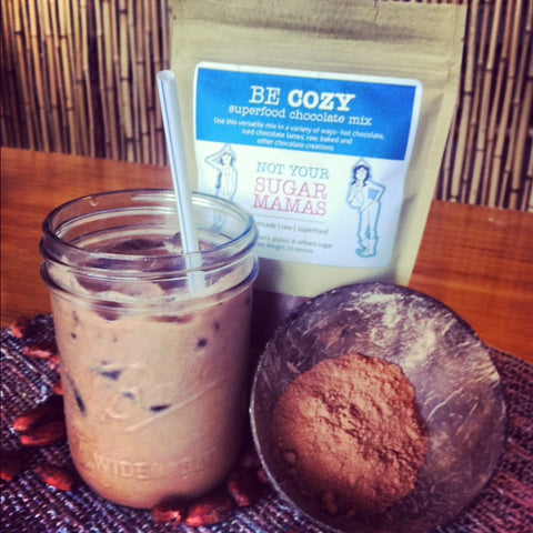 Ice Cold Chocolate Latte made with Be Cozy and Hemp Milk