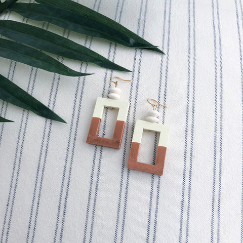 Olivia Geometric Wood Earrings
