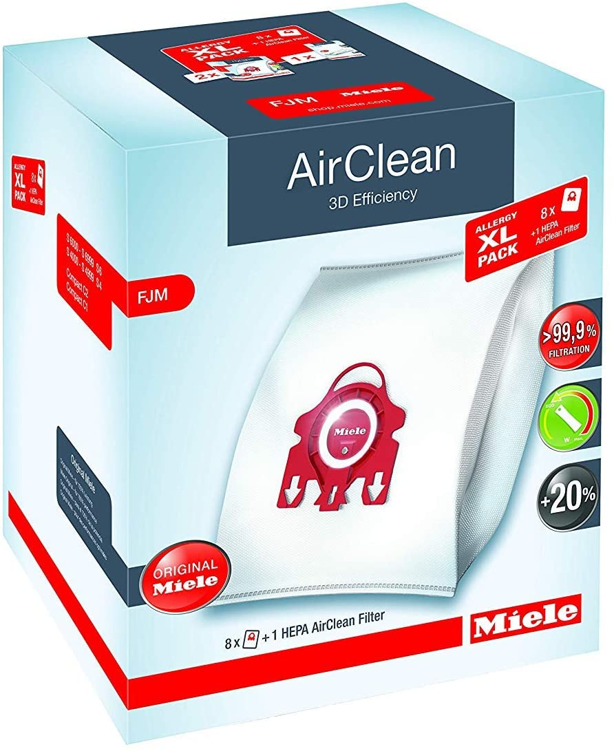 Miele AirClean Filter Bags Type FJM ·  8 Pack with SF-HA50 HEPA Filter