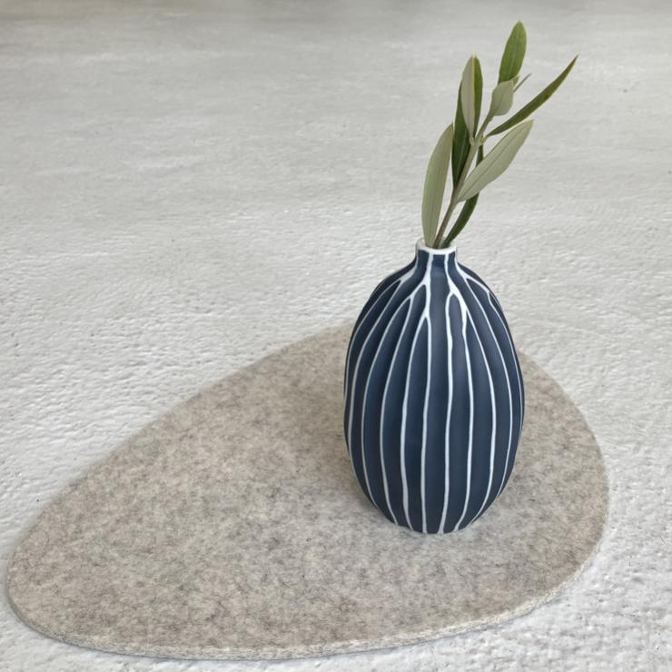 Modern Ceramic Oval Balloon Vase in Navy