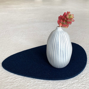 Modern Ceramic Balloon Vase in Blue Pinstripe