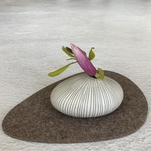Load image into Gallery viewer, Modern Ceramic Pebble Vase in Coffee Pinstripe