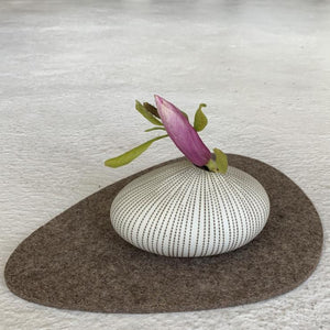 Modern Ceramic Pebble Vase in Coffee Pinstripe