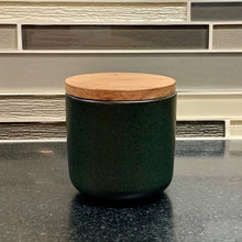 Load image into Gallery viewer, Be Home Stoneware Container with Acacia Lid in Black - Small