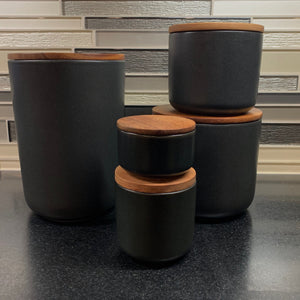 Be Home Stoneware Container with Acacia Lid in Black - Large