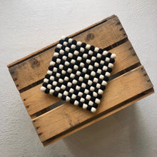 Load image into Gallery viewer, Wool Pom Pom Trivet · Black / Cream