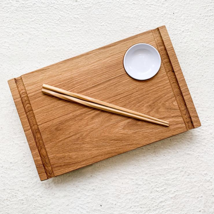 CVACHI Handcrafted Sushi Board in Red Oak