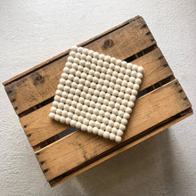 Load image into Gallery viewer, Wool Pom Pom Trivet in Cream