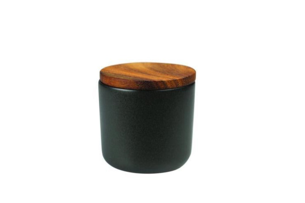 Be Home Stoneware Container with Acacia Lid in Black - Small