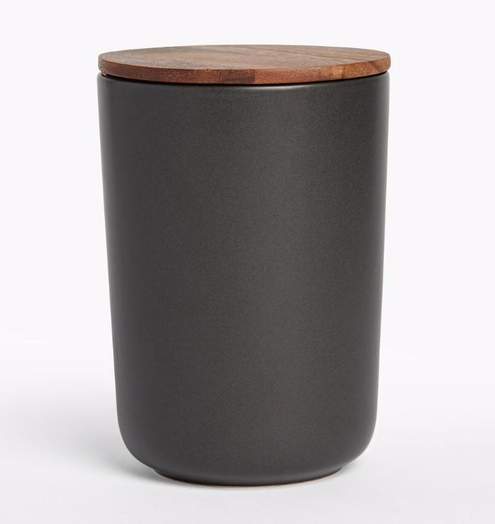 Be Home Stoneware Container with Acacia Lid in Black - Extra Large