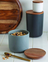 Load image into Gallery viewer, Be Home Stoneware Container with Acacia Lid in Storm - Medium