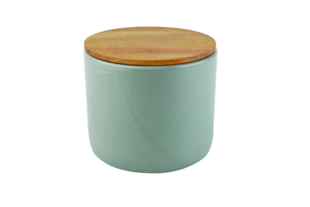 Be Home Stoneware Container with Acacia Lid in Storm - Medium