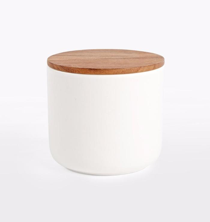 Be Home Stoneware Container with Acacia Lid in White - Large