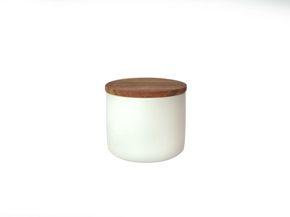Be Home Stoneware Container with Acacia Lid in White - Medium