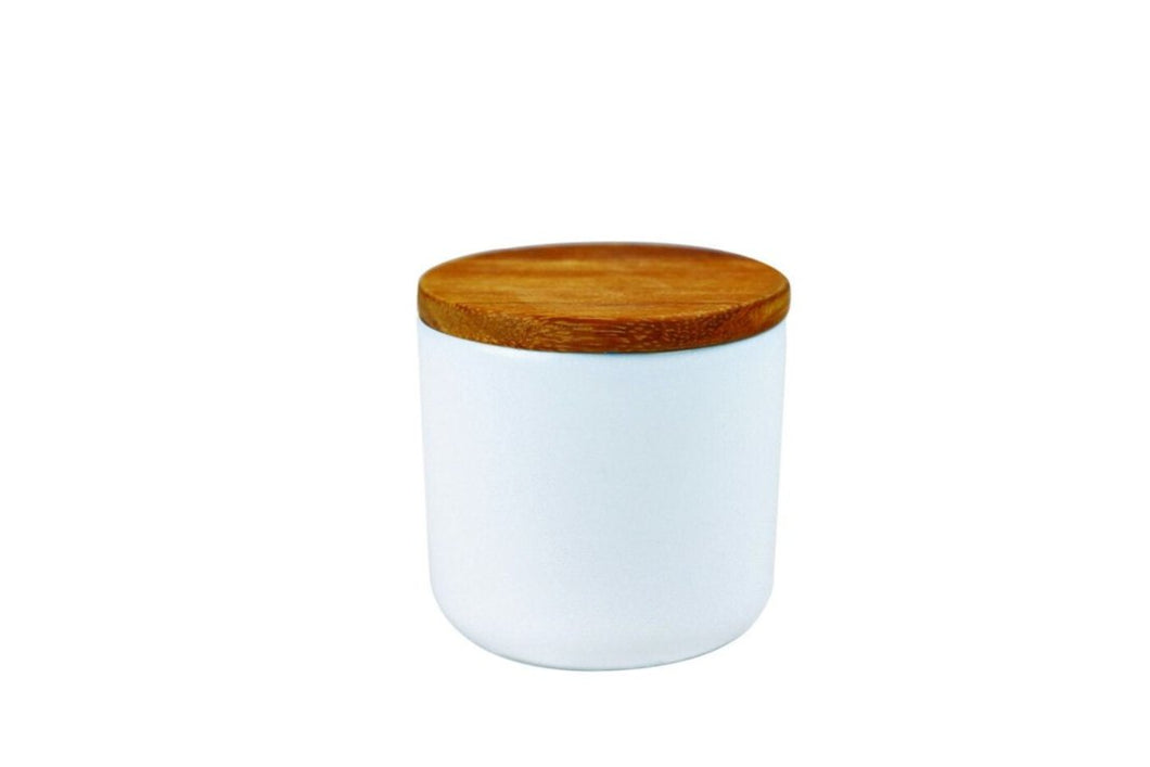 Be Home Stoneware Container with Acacia Lid in White - Small