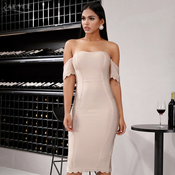 beige off shoulder bandage dress with short sleeves - front view on model