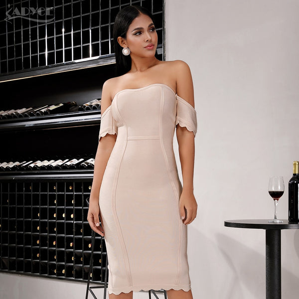 beige off shoulder bandage dress with short sleeves - side view on model