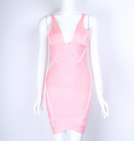 Pink low neck bandage dress