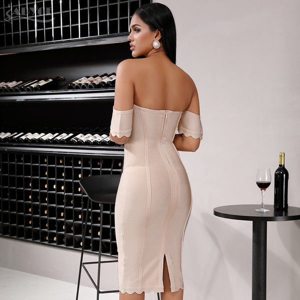 beige off shoulder bandage dress with short sleeves - back view on model