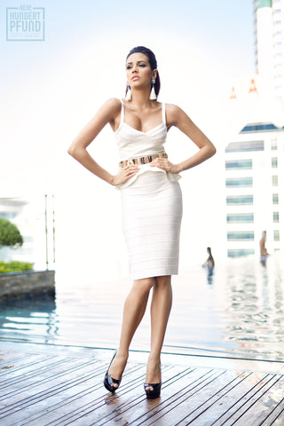 white peplum two piece bandage dress