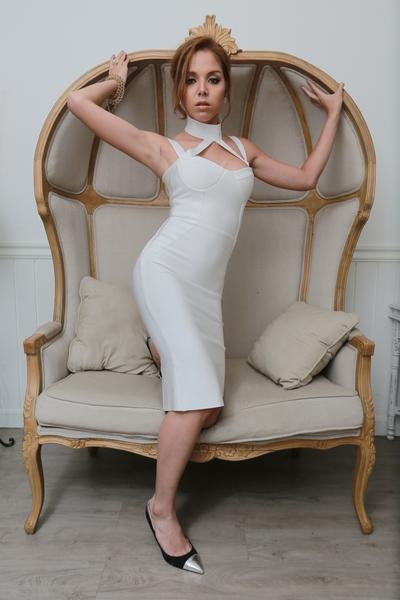 white choker bandage dress - on model