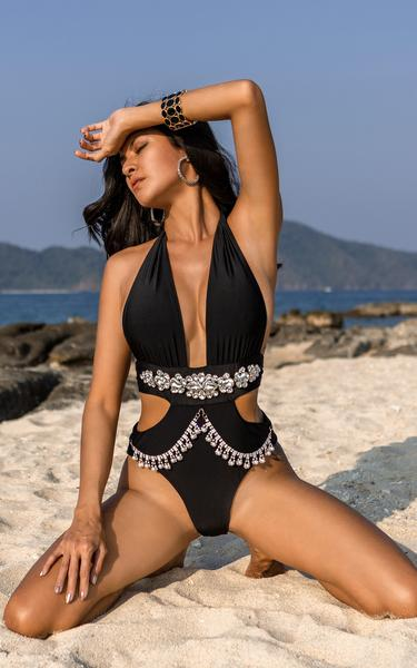 waist cut out swimsuit on model close up view