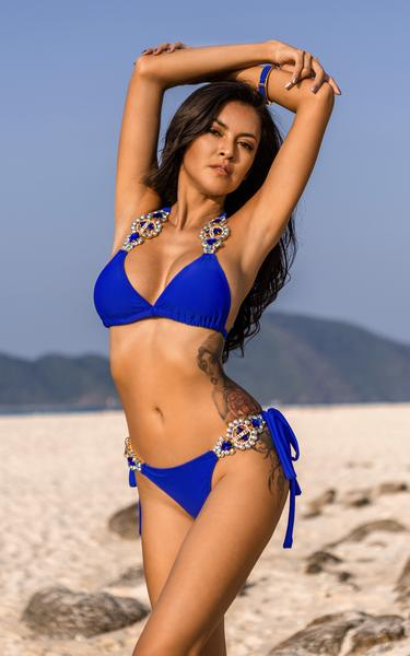 blue crystal embellished bikini - front view on model