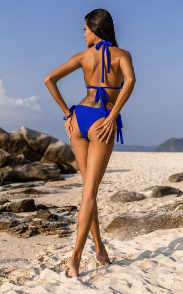 blue crystal embellished bikini - back view on model