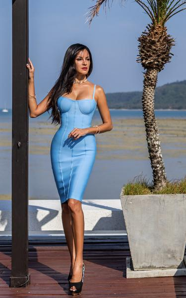 cornflower blue bandage dress front view on model