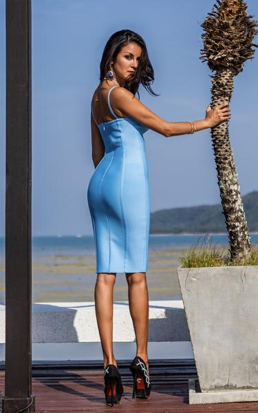 cornflower blue bandage dress back view on model