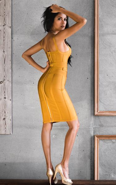 ginger bandage dress - side view on model