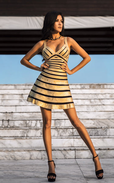short black and gold party dress