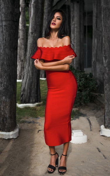 red midi off shoulder bandage dress