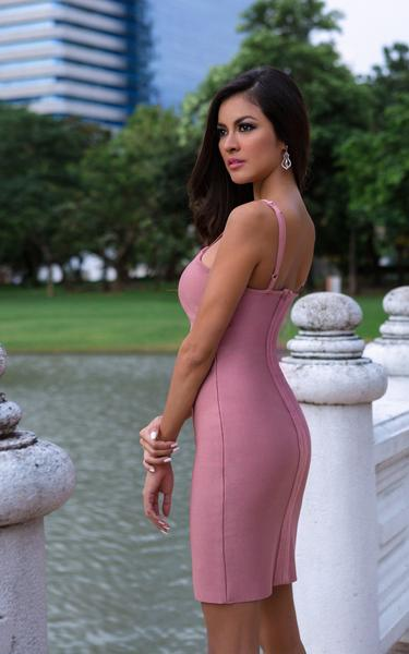 rose pink lace up front dress - back view on model