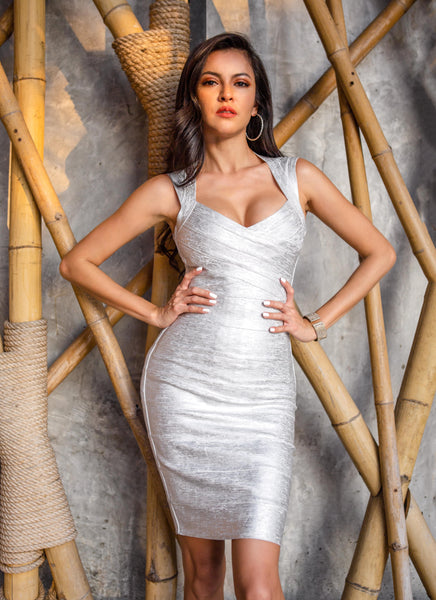 silver bandage dress for first valentine date