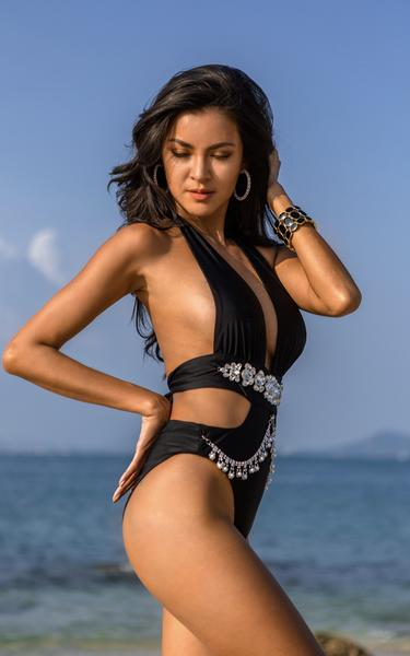waist cut out swimsuit on model front view