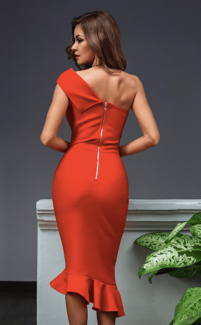 One shoulder red midi bandage dress - back view